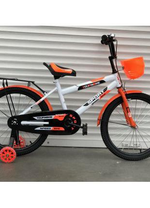 Велосипед TopRider 14 и 16 оранжевый детский двухколесный с ба...