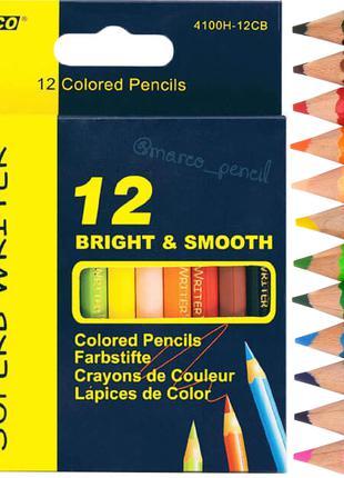Цветные карандаши Марко 12 цветов (короткие) 4100H-12CB