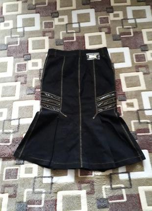 Джинсовая стрейчевая юбка - годе
