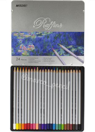 Цветные карандаши Марко Раффине в металлическом кейсе 24 цвета