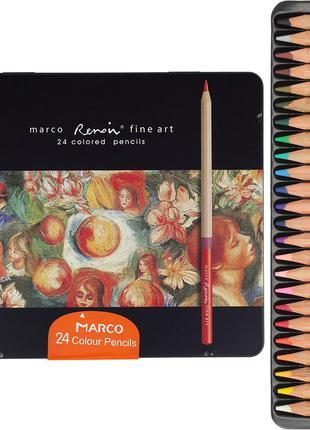 Цветные карандаши Марко Реноир Файн Арт 24 цвета в метал. кейсе