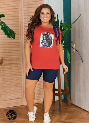 Комплект из футболки и шорт красный