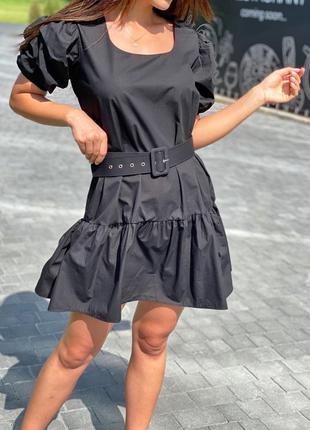 Трендовое женское платье с рукавами-фонариками и поясом