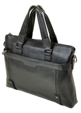 Мужской кожаный портфель, черный деловой портфель