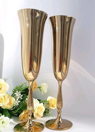 Бокали для наречених Зеркальні бокали Золоті бокали