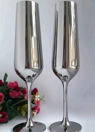 Бокали для наречених Зеркальні бокали Срібні бокали
