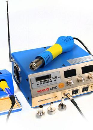 Паяльная станция 2в1 паяльник и фен выход USB 5v плеер и FM YX
