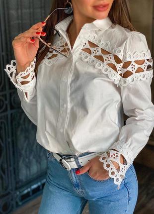 Женская рубашка с ажурными вставками белая😻