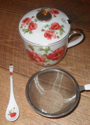 Чайный набор чашка с ситом ложкой и крышкой