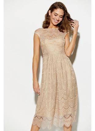 Платье кружево эксклюзив миди гипюр нарядное бежевое