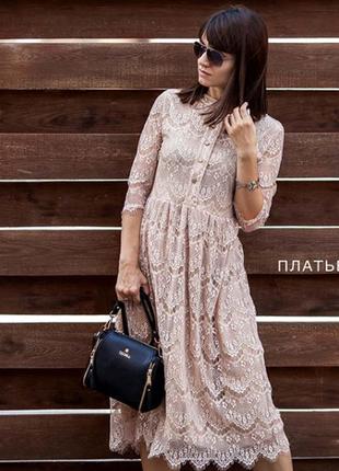 Платье кружево с пуговицами гипюр бежевое karree