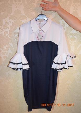 Деловое стильное платье  с поясом в комплекте )