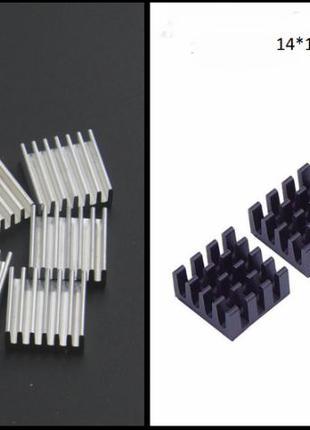 Радиаторы алюминиевые 14x14x6мм, 9x9x5мм (охлаждение чипов пам...
