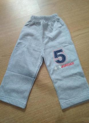 Детские трикотажные штаны на флисе, детские теплые штаны