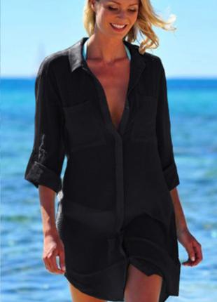 Пляжная накидка на купальник туника рубашка