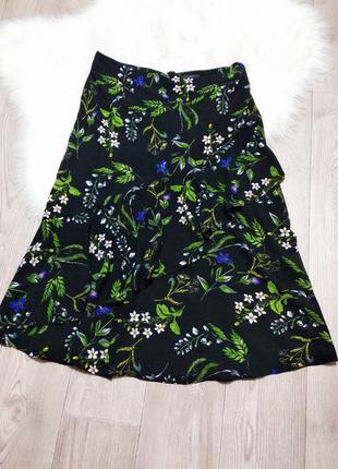 Лёгкая шифоновая летняя миди юбка длинная с воланами клеш
