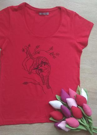 Красная футболка, футболка с котом, футболка с кошкой, футболк...