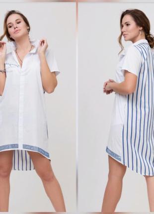 Платье летнее рубашка полосатая спинка