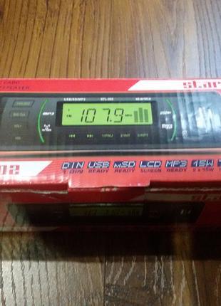 Автомагнитола STL-302 Black/Green USB/SD ресивер, STARLITE