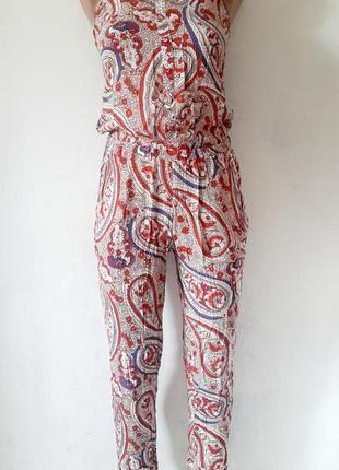 Летний комбинезон штанами в принт, женский комбинезон из натур...