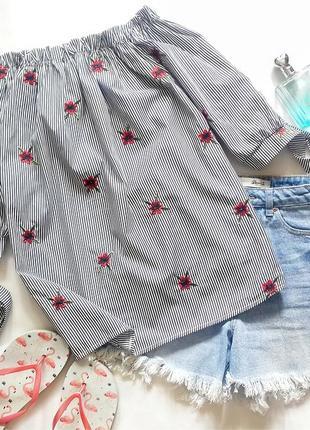 Блузка с открытыми плечами в полоску, полосатая блузка с откры...