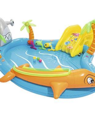 Надувной детский игровой центр с горкой и шариками Bestway