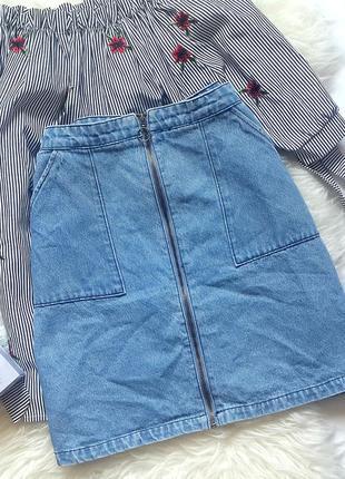 Джинсовая юбка-трапеция с молнией спереди, джинсовая юбка голу...