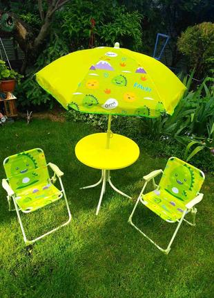 Детский набор. Стол, два стула, зонт.