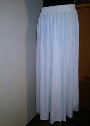 Трикотажная,молочная,длинная юбка-клёш- на резинке,большого ра...