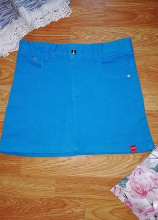 Яркая плотная джинсовая юбка трапеция - возраст 11-14 лет