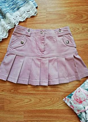 Плотная коттоновая пудровая юбка girl2girl - возраст 7-8 лет