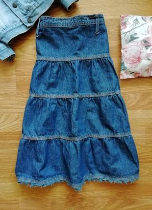Пышная легкая джинсовая юбка - возраст 10-11 лет