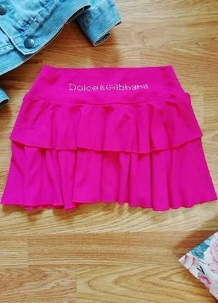 Яркая легкая летняя юбка с оборкой - вискоза - возраст 5-7 лет