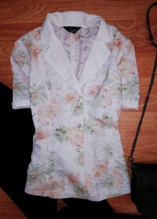 Легкий летний жакет - пиджак - цветочный принт - размер 44-46
