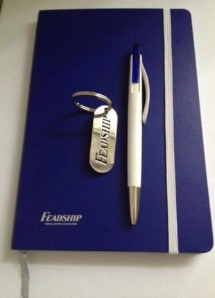 Подарочный набор из Блокнота на резинке с шариковой ручкой Feadsh