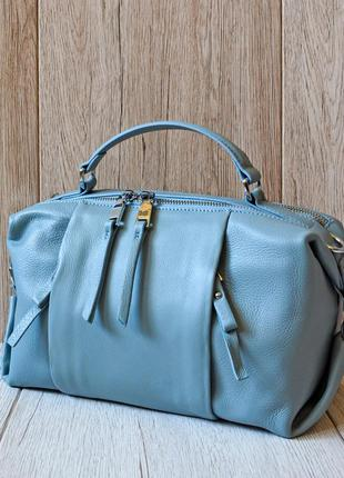 Голубая кожаная сумка  polina&eiterou