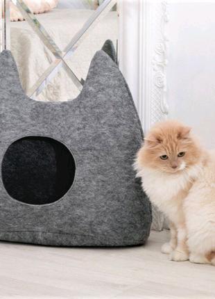 """Дом для кота из войлока """"Ушки"""" серый"""