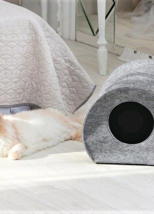 """Теплый дом для кота из войлока """"Цилиндр"""" серый"""