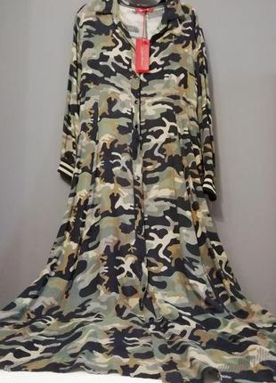 Платье халат длинное хаки италия