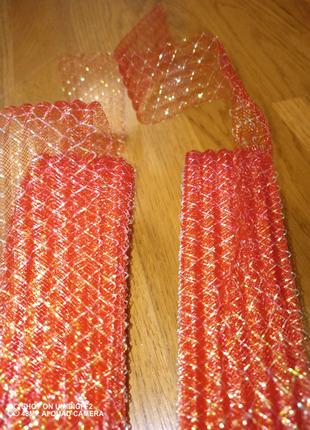 Лента для упаковки (красная сетка с люрексом)
