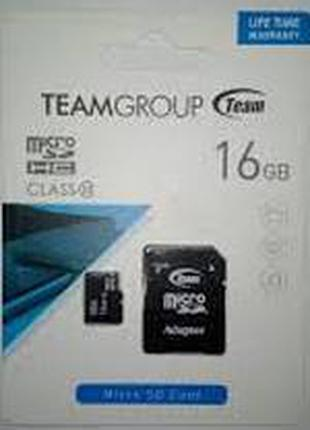 Карта памяти micro SD 16 Гб класс 10 с адаптером на SD