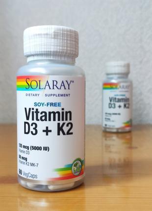 Витамин D3, D3 K2, D3 и K2, Д3 К2 (5000 МЕ), Solaray, 60 капсул