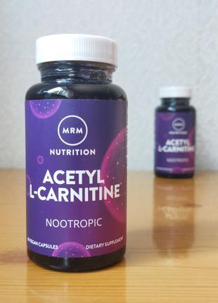 MRM, Ацетил-L-карнитин, 500 мг, 60 веганских капсул