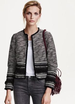 Твидовый жакет в стиле шанель, пиджак в этно бохо стиле h&m