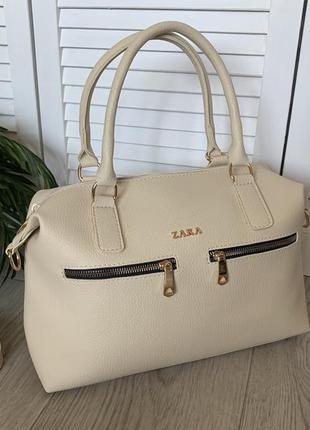 Шикарная, стильная бежевая сумка