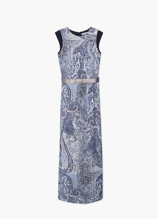 Нарядное платье манго в пол с поясом принт турецкий огурец
