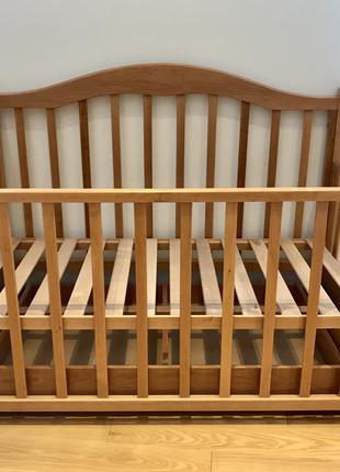 Продам детскую кроватку Трия. Бук. Натуральный цвет