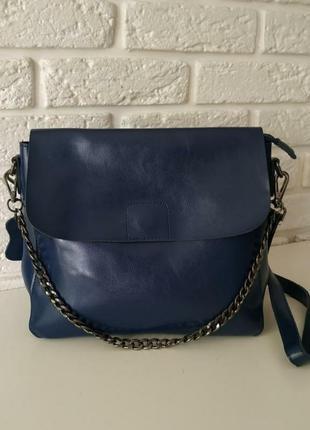Кожаная сумка синяя на длинной ручке💃
