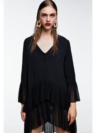 Zara плиссированное платье блузка плиссировка гофре плиссе туника