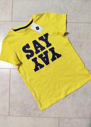 Лимонная футболка на мальчика, яркая футболка